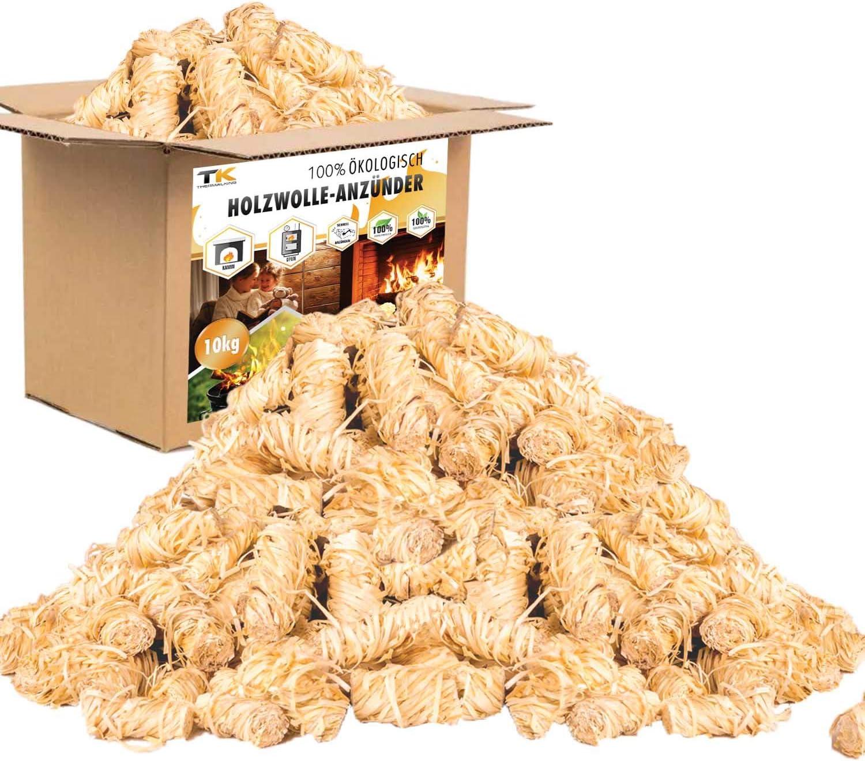 Encendedores de madera natural - Pastillas encendido chimenea ecológicas - Ideal para encender barbacoa, fuego y estufa (10 kg)