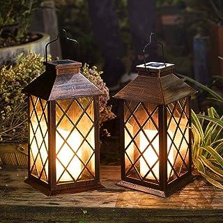 Moontie Outdoor Solar Lantern Waterproof LED Hollow Light Solar Powered Portable Metal Hanging Lantern for Garden Patio Yard Table