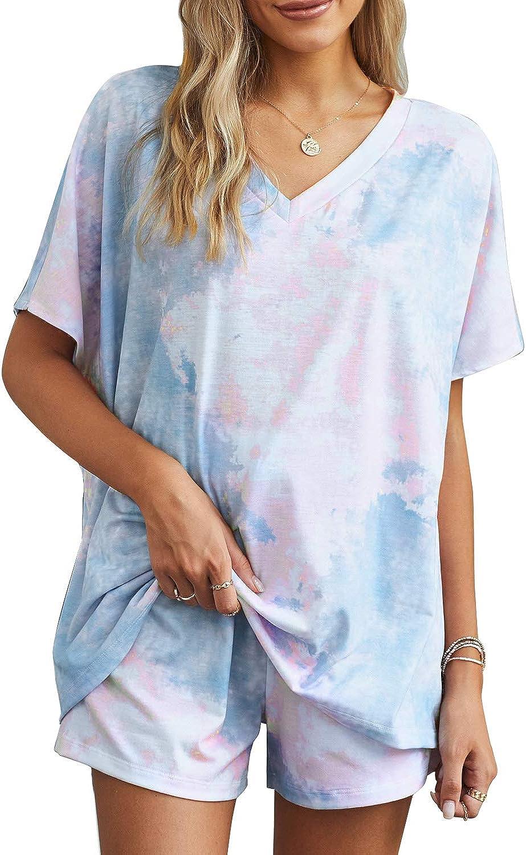 Zecilbo Women's 2 Piece Pajama Set Tie Dye Summer Short Sleeve Sleepwear Drawstring Shorts Pj Set Nightwear Loungewear