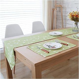 AMDXD Chemin de Table Hiver 30x180CM, Branches et Feuilles Brodées Décoration de Table pour Noël Vert Chemin de Table en C...