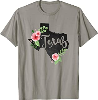 Texas Chalkboard Watercolor Flowers Home State T-Shirt