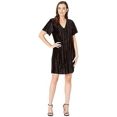 Lilla P Flutter Sleeve Pleated Velour Dress (Black) Women