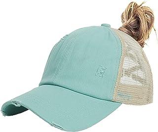 Muryobao Women Ponytail Baseball Caps Criss Cross Mesh Hats High Messy Bun Ponycap Trucker Hats