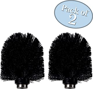 Chrome Style Replacement Toilet Brush Head - for Stainless Steel Toilet Brush - Sturdy Stiff Bristles - Pack of 2, Black - for Bathroom Cleaning