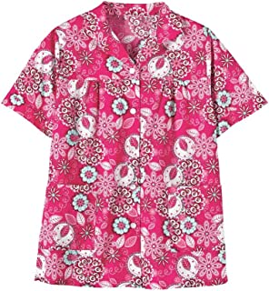 AmeriMark Button Front Smock Top Apron Scrubs Short Sleeves with Patch Pockets