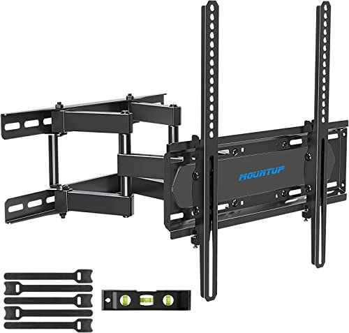 MOUNTUP TV Wall Mounts - Full Motion TV Wall Mount for 26-55 Inch Flat Screens and Curved TVs up to 88 LBS Wall Mount TV Bracket with Dual Swivel Articulating Arms Max VESA 400x400mm MU0010