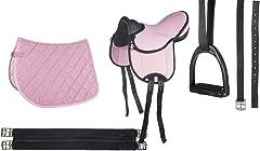 HKM – Juego de sillín de monta - principiantes, rosa