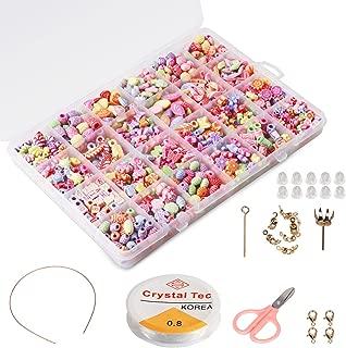 Los niños DIY Set de perlas (500 unids), Phogary bricolaje pulseras collares joyería del grano que hace el kit para el regalo de las muchachas de los niños presente