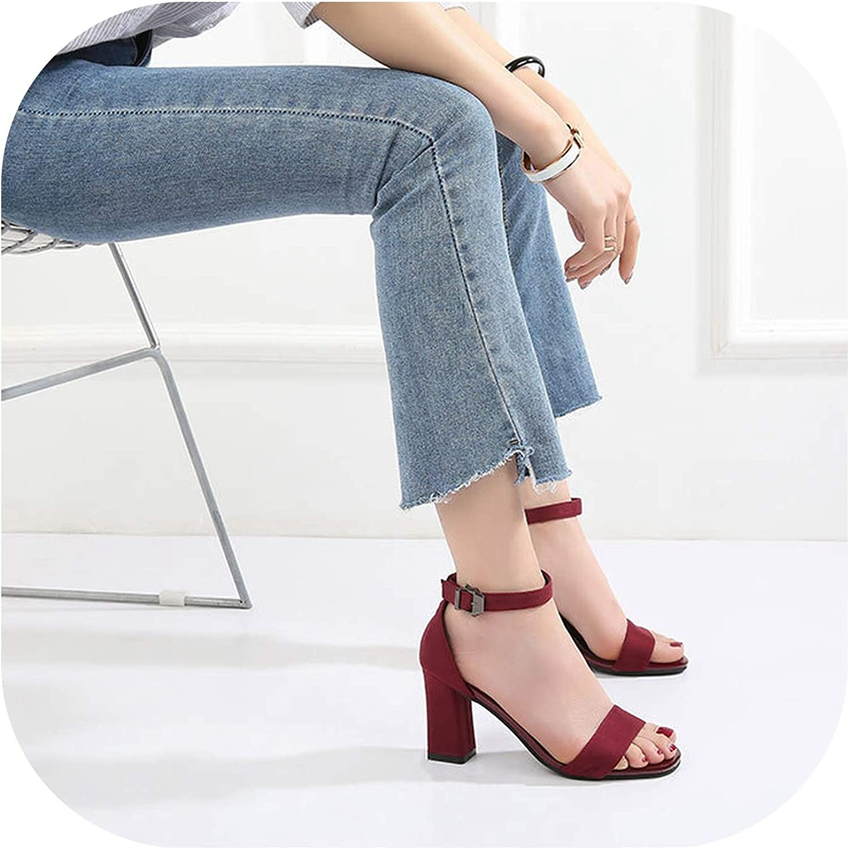 Alerghrg Open Toe Women's Sandals Low Block Heel 5CM 7CM Black Gladiator shoes Ankle Strappy Size 40