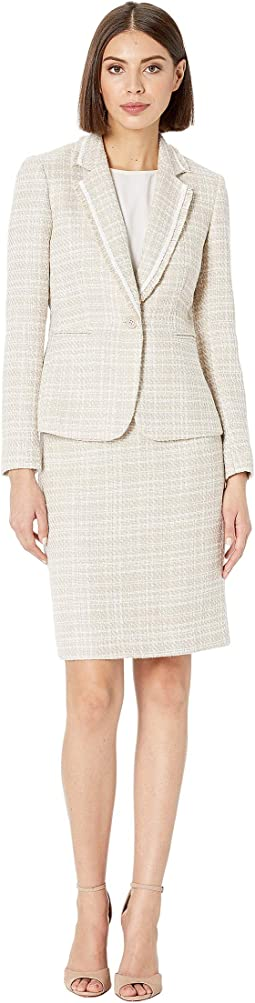 Boucle with Frayed Trim Skirt Suit
