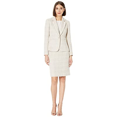Tahari by ASL Boucle with Frayed Trim Skirt Suit (Beige/Ivory) Women