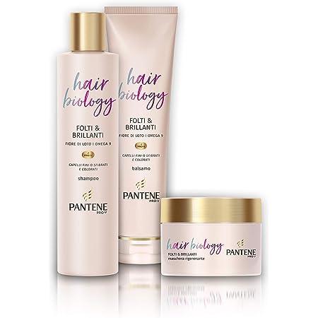 Pantene Hair Biology Folti e Brillanti, Set Composto da Shampoo da 250 ml, Balsamo da 160 ml e Maschera da 160 ml
