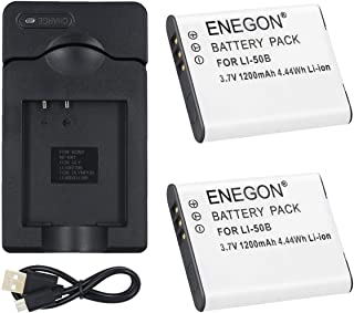 ENEGON 2 Pack Replacement Li-50B Battery and Micro USB Charger for Olympus Stylus SZ-10, SZ-12, SZ-15, 1010, 1020, 1030, 9000, 9010, SP-800UZ, SP-810UZ, SP-720UZiHS, VR-340, TG-610