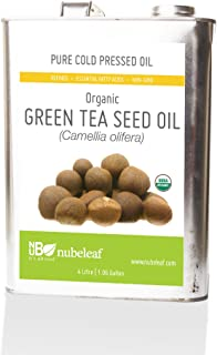 Organic Tea Seed Oil (Camellia olifera) - 1 Gallon Bulk, High Temperature Smoke Point Oil for Healthy Cooking - Rich in Antioxidants & Essential Fatty Acids - Excellent Moisturizer Containing Vitamin A, B, and E for Dry Skin & Hair
