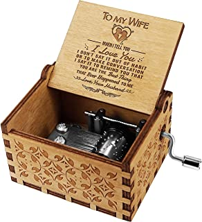 KWOOD Laser Engraved Wood Musical Box,Music Box with Hand Crank,Mechanism Antique Vintage,Personality Musical Box Gifts for Birthday Christmas (to Wife)