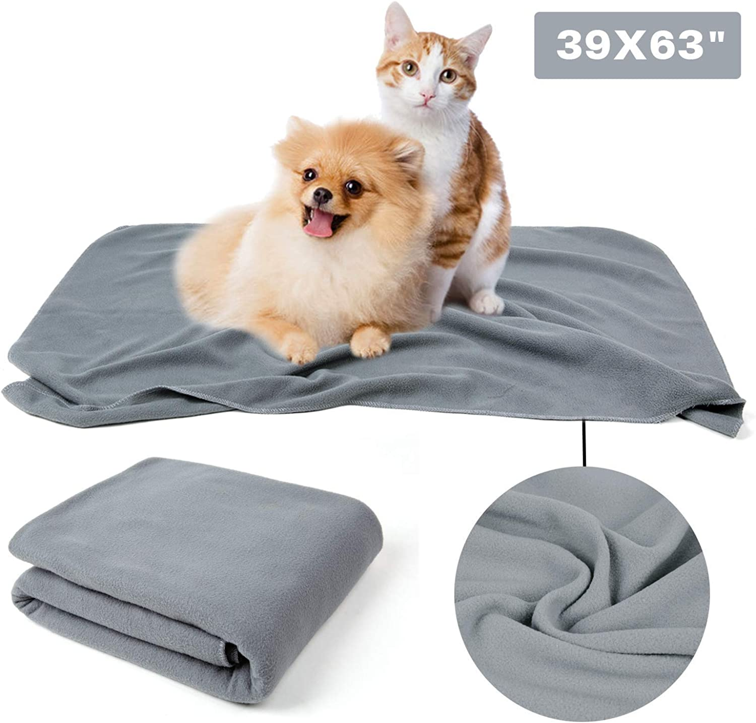 Puppy Dog Cat Fleece Warm Blanket, Pet Soft Sleep Bed Cover for Kitten Small Animals, Grey