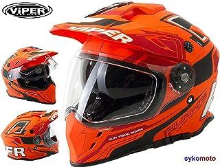 VIPER RX-V288 DUAL SPORT BIKE DUAL VISIER ENDURO MOTORRAD HELM FLAME ORANGE L