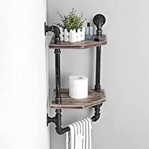 Weven Industrial Pipe Corner Shelf,Rustic Wall Shelves with Towel Bar,Bathroom Shelves Wall Mounted,2 Tiered Metal&Real Wood Home Decor Floating Shelves