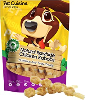 Pet Cuisine Chicken Rawhide Dog Treats, Natural and Delicious Chicken Kabobs, Long Lasting Puppy Chews Dog Snacks for Treating and Training