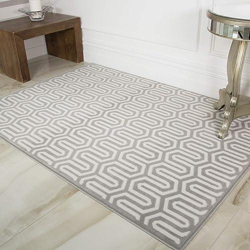 Milan Grey Beige Grey Beige Intricate Geometric Modern Design Living Room Area Rug 160cm x 230cm