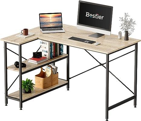 Amazon.com: Bestier Small L Shaped Desk with Storage Shelves 47