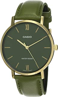 Casio Green Leather Men Watch MTP-VT01GL-3BUDF
