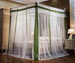 JQWUPUP Elegant Canopy Bed Curtains, Ruffle Princess 4 Corner Post Mosquito Net, Bed Canopy for Girls Kids Toddlers Crib, Bedding Décor (Twin, Dark Green)