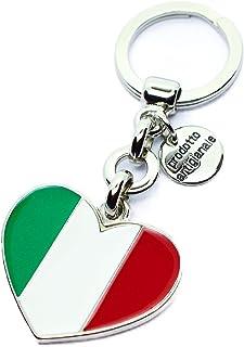 Laboratori Alba Portachiavi in Metallo Lucido Ciondolo a Forma di Cuore Bandiera Tricolore Italia Smaltato