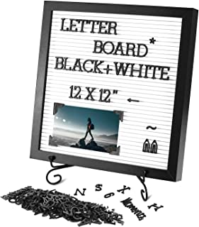 Changeable Letter Board 12x12 inches, Plastic Message Board with Metal Stand, Black Characters & Photo Clips, Message Sign...