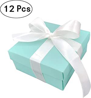 Small Square Turquoise Candy Box Blue Wedding Favors Teal Gift Boxes with Lids and Silk Ribbon for Wedding Baby Bridal Showers Birthday Party Supply, 12pc (Aqua Blue)