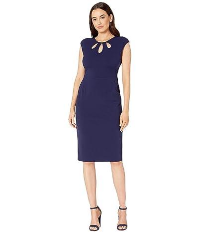 Maggy London Crepe Scuba Solid Sheath Dress (Majestic Navy) Women