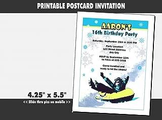snow tubing birthday invitations
