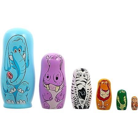Lot de 5 poup/ées russes gigognes en bois peintes /à la main D/écoration 5 couches Matryochka Jouets pour enfants D/écoration de la maison Cadeaux