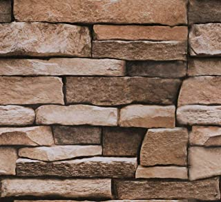 "Stone Peel and Stick Wallpaper - Use as Contact Paper, Wall Paper, or Shelf Paper - Easily Removable Wallpaper - Brick Wallpaper - 17.71"" Wide x 177"" Long - 21.77 sq. ft. (4)"