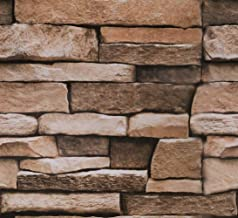 """Stone Peel and Stick Wallpaper - Use as Contact Paper, Wall Paper, or Shelf Paper - Easily Removable Wallpaper - Brick Wallpaper - 17.71"""" Wide x 177"""" Long - 21.77 sq. ft. (4)"""