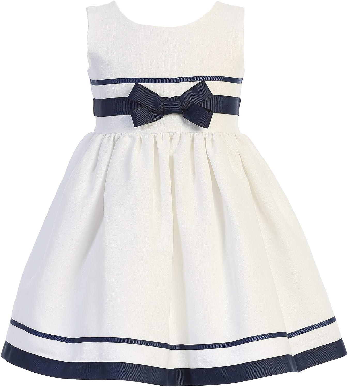 Gigi's Classy Kids Flower Girls White Rayon Dress Striped Wedding Party Birthday Easter