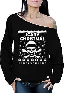 Awkward Styles Scary Christmas Sweatshirt Off Shoulder Skull Christmas Sweater Skull Santa
