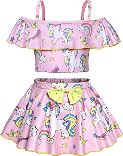Girls Unicorn Swimsuits Toddler Bathing Suit Beachwear Pool Party Cover up Swim Skirts 2-8 Years