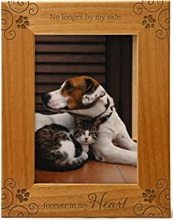 No Longer By My Side, Forever In My Heart, Pet Memorial Picture Frame Engraved Natural Wood Fits a 5x7 Vertical Portrait, ...