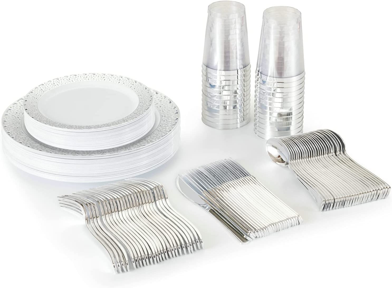 JYHOWIRE Disposable Miami Mall Plates with Cutlery 1 year warranty - Silver And Piece w 125
