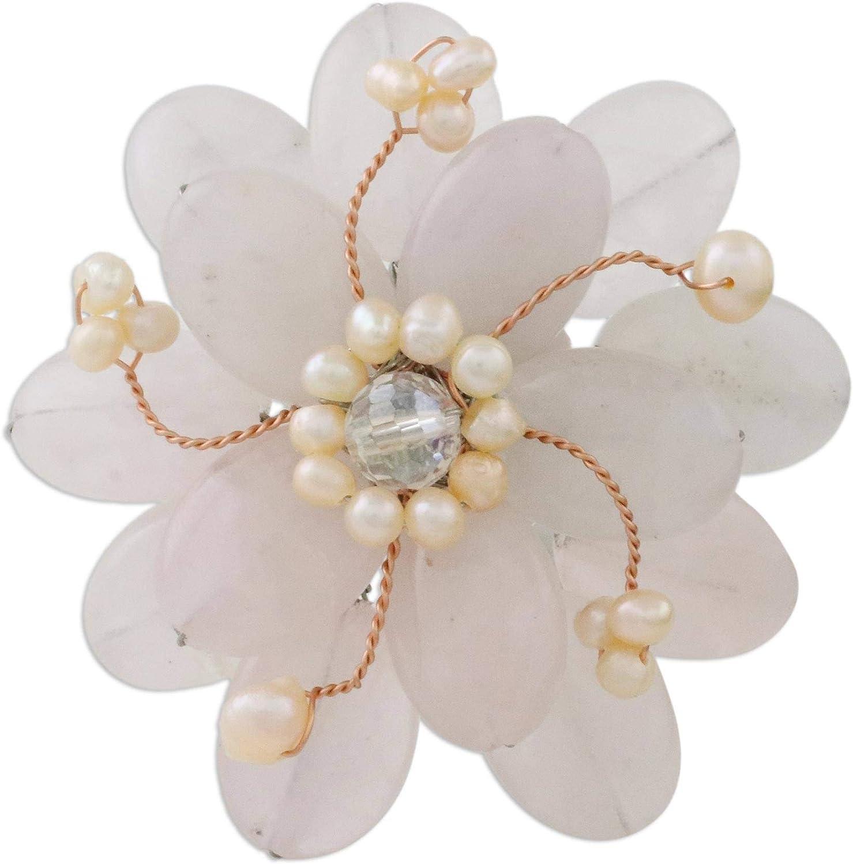 NOVICA Rose Quartz White Cultured Freshwater Pearls Steel Brooch, Pink Azalea'