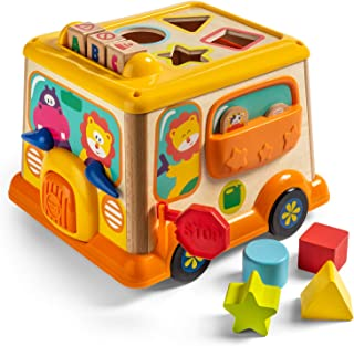 TOP BRIGHT Activity Cube for 1 2 Year Old Girl Boy Gift,Wooden Educational Baby Toy for Age 18 Month