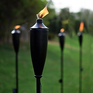 Deco Home Set of 4 Tikki Backyard Torch - 60 inch Citronella Garden Outdoor/Patio Flame Metal Torch - Black Matt