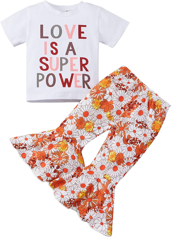Little Toddler Baby Girl Summer Short Sleeve Outfit Letter T-Shi