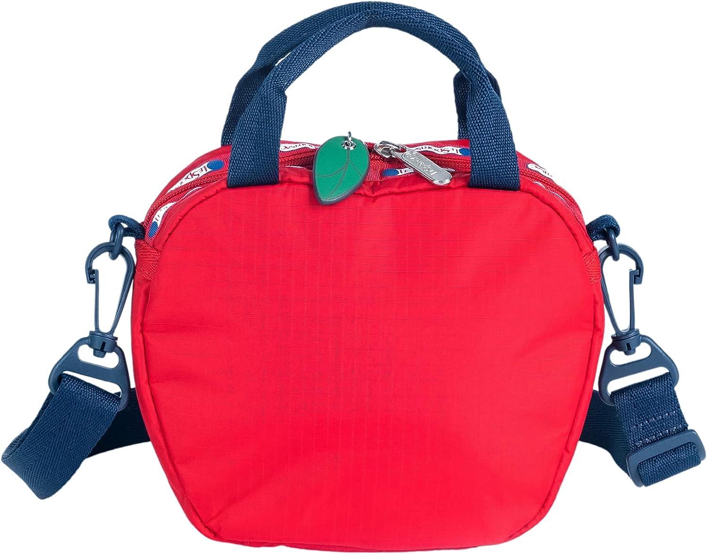 LeSportsac Heritage Apple - Big Apple Crossbody Bag, Style 3617/Color F777, Unique Apple Shaped Crossbody Bag w Green Leaf Zipper Pull & Red/White/Blue Logo Trim, Detachable & Adjustable Strap