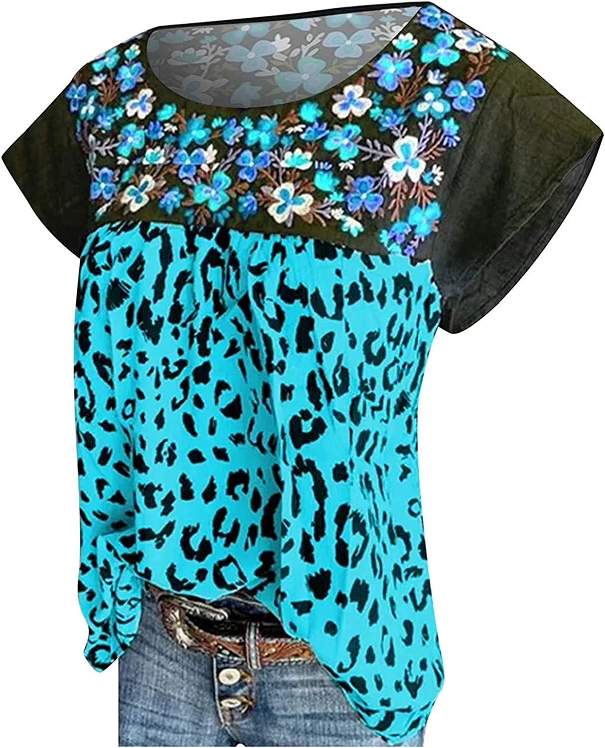 T Shirt for Women Casual Small Flower Printed Tank Top Sleeveles