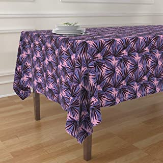 Roostery Tablecloth, Botanical Banana Leaf Jungle Preppy Leaves Chinoiserie Decor Plants Pink Floral Hollywood Regency Print, Cotton Sateen Tablecloth, 90in x 90in