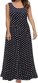BEDOAR Women Sleeveless Scoop Neck Plus Size Loose Plain Long Maxi Casual Dress