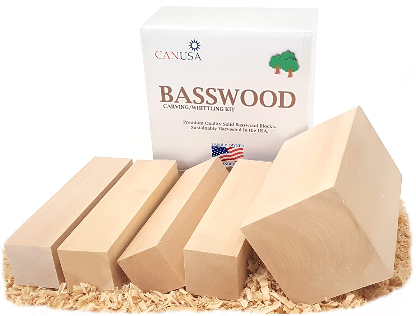 Best Value Basswood Beginners KIT. 1/3 More Wood Than Other Kits! Premium Unfinished Carving/Whittling Wood Blocks for Kids or Adults, Beginner to Expert.