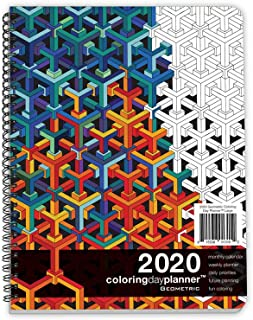 Action Publishing Coloring Day Planner · 2020 Geometric · Daily and Weekly Scheduling and Goal Planning, with Lines, Shapes and Pattern Coloring Pages· Jan - Dec (8.5 x 11 inches)